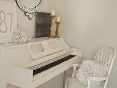 White vintage piano with painted Louis armchair/nightscape abstract painting/Venetian mirror/Hello Lovely Studio