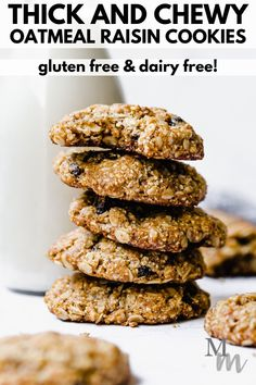 These gluten free and dairy free oatmeal raisin cookies are easy to make, healthy, and delicious. They are soft, thick, and chewy in texture. Enjoy them for breakfast, as a snack or dessert. #glutenfree #dairyfree #cookies #oatmealraisin Paleo Cookie Recipe, Healthy Cookie Recipes, Best Gluten Free Recipes, Gluten Free Baking, Baking Recipes, Whole Food Recipes, Keto Recipes, Vegetarian Recipes, Dairy Free Oatmeal Raisin Cookies