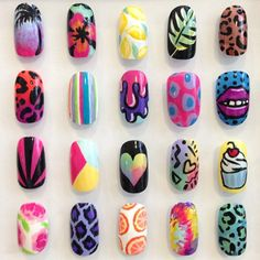 Find images and videos about nails, colorful and nail art on We Heart It - the app to get lost in what you love. Diy Nails, Swag Nails, Manicure, Dream Nails, Love Nails, Funky Nails, Gorgeous Nails, Pretty Nails, Nail Art Wheel