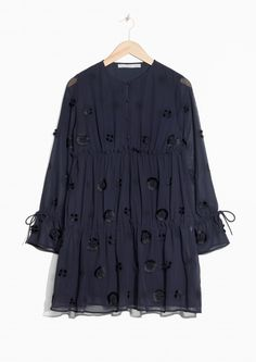 & Other Stories image 1 of Frilled Embroidered Dress  in Dark Blue