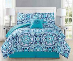 5 Piece Medallion Aqua/Navy Comforter Set