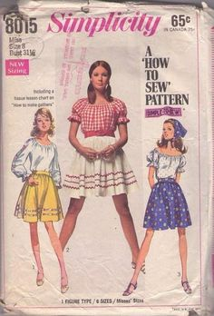 MOMSPatterns Vintage Sewing Patterns - Simplicity 8015 Vintage 60's Sewing Pattern WHIMSICAL Easy How to Sew Boho Peasant Blouse, Embroidered Ribbon Trim, Flared Bell Shaped Mini Skirt Size 8