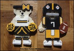 Pittsburgh Steelers Inspired Player and Cheerleader Hunibears Clothing - Plastic Canvas Cross Stitch Pattern