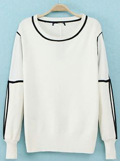 White Long Sleeve Contrast Trims Knit Sweater - Sheinside.com