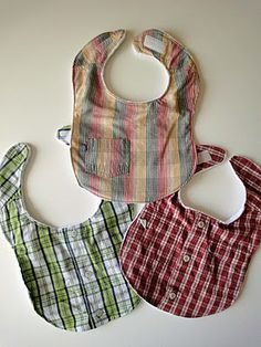 Great idea...bibs made from big boy / girl shirts.  Love recycling and repurposing items.