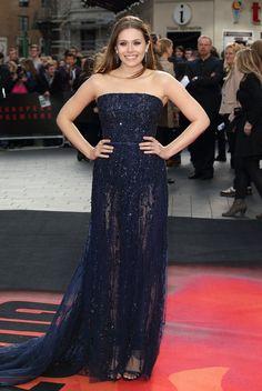 Elizabeth Olsen in Elie Saab at the London Godzilla premiere.
