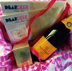 Champagne Box  2 satin pillow slips from Dear Deer & Kissable Chocolate massage candle from Bijoux Indiscrets + delicious bubbles +=❤️