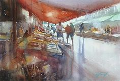 """Fish Market, Hakodate, Japanese Landscape Paintings"" - Original Fine Art for Sale - © Keiko Tanabe"
