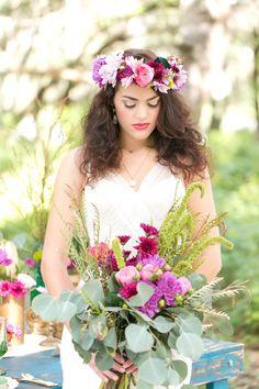 super love this floral halo crown.  http://www.weddingchicks.com/2013/09/13/bright-bohemian-wedding/
