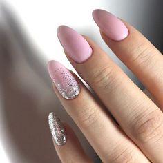 Nail Shapes - My Cool Nail Designs Gradient Nails, Glitter Nails, Acrylic Nails, Pink Glitter, Trendy Nails, Cute Nails, Hair And Nails, My Nails, Fall Nails