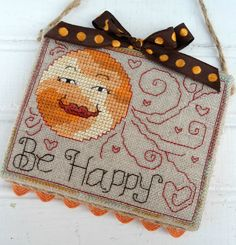 Be Happy Inspirational Sun Ornament Door by SnowBerryNeedleArts Cross Stitch Embroidery, Embroidery Patterns, Cross Stitch Finishing, Door Hangers, Needlepoint, Inspirational, Autumn, Sun, Ornaments