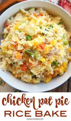 Chicken Pot Pie Rice Bake - chicken, mixed vegetables, cheddar, cream of chicken, sour cream and rice. Ready in 30 minutes! A whole meal in one pan. No need for extra sides! We love to serve this with some buttermilk biscuits to complete the meal. Easy Casserole Dishes, Casserole Recipes, Rice Casserole, Cooking Recipes, Healthy Recipes, Casseroles Healthy, Frugal Recipes, What's Cooking, Pie Recipes