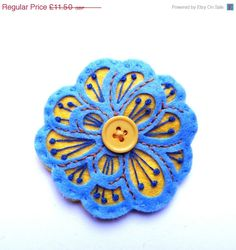 40% FLASH SALE MEXICAN Rose felt brooch pin with por designedbyjane