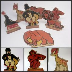 Unusual and wonderful addition to any vintage Circus display or memorabilia.  Antique Wood #CircusToy Lot 7 Diecut Litho 3D Standing Vintage Set #Bambi