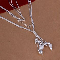 New Listing Hot selling  silver plated  refined luxury beads three harness Necklace Fashion trends Jewelry Gifts