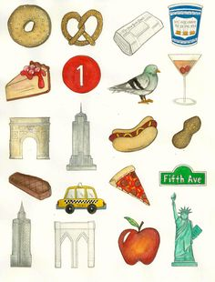 8.5x11 Watercolor Illustration - NYC ICONS