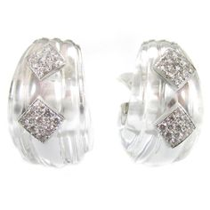 David Webb Rock Crystal Diamond Platinum Ear Clips | From a unique collection of vintage clip-on earrings at https://www.1stdibs.com/jewelry/earrings/clip-on-earrings/