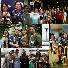 international convention in Seattle while dressed up in their Native American outfits. They are Colville Indians from Washington State.