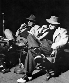 John Dodge (Ward Bond) and John Ford on the set of The Wings of Eagles (1957).
