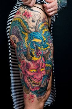 Chronic Ink Tattoo - Toronto Tattoo Dragon and hanya thigh tattoo done by Winson. This piece took 2nd place in the large color category at the Laval Bike & Tattoo show a couple weeks ago. Congrats Winson!