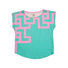 Chunky Geometric Graphic Print Tee ($52) ❤ liked on Polyvore featuring tops, t-shirts, blue t shirt, geometric pattern t shirt, print t shirts, graphic tops and geometric t shirt