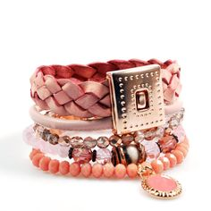 Rose gold bracelet with leather braid in vintage pink - boho chic jewelry, beads and leather - handmade, one of a kind jewelry