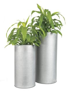 manufacturing plant.  Galvanized steel corrugate planters give rise to greens and grasses.  Removable insert makes for easy planting. Corrugated steelDrainage hole with removable plugIndoor or outdoor useClean with damp clothMade in Vietnam.