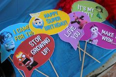 Photo Booth Props for for Inside Out inspired Party by Girly-Girl Partea's in Jacksonville, FL by Party By A Princess