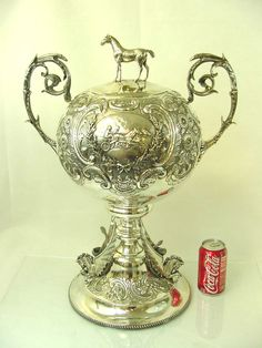 Amazing antique English sterling silver horse racing trophy, with figural horse as the finial - Birmingham, c1898 (silverapple)