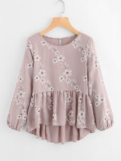 SheIn offers Calico Print Frill Hem Blouse & more to fit your fashionable needs. SheIn offers Calico Print Frill Hem Blouse & more to fit your fashionable needs. Floral Blouse, Floral Tops, Ruffle Blouse, Ruffle Sleeve, Flutter Sleeve, Peplum Blouse, Ruffle Collar, Hijab Fashion, Fashion Clothes