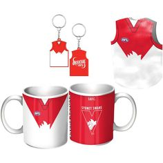 Sydney Swans Guernsey Giftpack.  This Great Pack Features Guernsey Design Mug, Keyring, & Stubby Cooler.  To see the full range of AFL merch, visit www.shop.afl.com.au