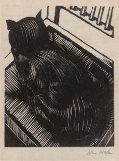"""""""Cat on chair"""" by John Nash, 1904.  Wood engraving."""