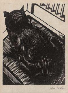 Cat on Chair / Black Cat 1 - wood engraving 1919 - John Nash (1893-1977, U.K.)