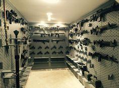 Gun Room - Safe Room  Gun collection.   Gun wall.   Secret room.  Hidden room.   Military guns