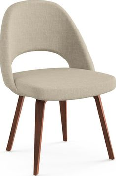 Saarinen Executive Armless Chair with Wooden Legs by Knoll White Dinning Chairs, French Dining Chairs, Bistro Chairs, Leather Dining Chairs, Modern Dining Chairs, Side Chairs, Accent Chairs, Kitchen Chairs, Club Chairs