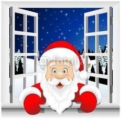 Vettoriale: Babbo Natale alla Finestra-Santa Claus at the Window-Vector