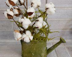 Watering Can Cotton Arrangement   Farmhouse Decor   Rustic Decor   Cotton Decor   Second Anniversary Gift
