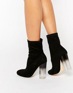 Truffle Collection Theda Sock Clear Heeled Ankle Boots