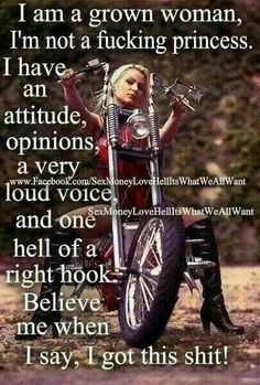I don't care for how they depict lady riders in this picture but the words are spot on for one of my lady biker characters Biker Quotes, Motorcycle Quotes, Motorcycle Outfit, Women Motorcycle, Biker Chick Outfit, Steampunk Motorcycle, Motorcycle Tips, Motorbike Girl, Lady Biker