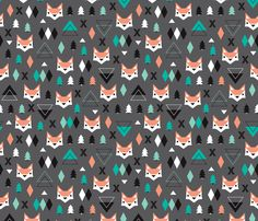 Geometric fox and pine tree illustration pattern. Fun illustration print for christmas and winter - fabric by Little Smilemakers Studio on Spoonflower - DIY Inspiration for home decor and fashion.