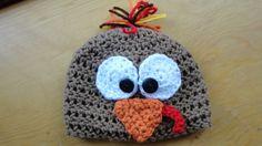 0 to 3 month 3 to 6 Turkey Beanie Thanksgiving by LittlestYarnShop, $14.00