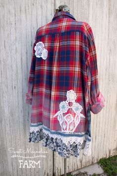 Farm Girl Fancies Upcycled Flannel Shirt/Jackets A- Line Style for all us Curvy Gals. by: Sweet Magnolias Farm .. now in our Etsy shop. A- Line Style for all us Curvy Gals.