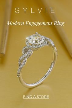This modern spiral engagement features a 1 carat round center stone surrounded by a swirling ring of shimmering diamonds that continues down both sides of the band for a total weight of 0.32 carats. 1 Carat Engagement Rings, Double Halo Engagement Ring, Classic Engagement Rings, Perfect Engagement Ring, Engagement Ring Styles, Designer Engagement Rings, Thing 1, Halo Setting, Matching Wedding Bands