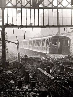 Wartime view of the Metropolitan Line platforms at Moorgate station, showing the devastation caused by air raids