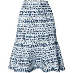 Oscar de la Renta abstract stripes A-line skirt (18.555.105 IDR) ❤ liked on Polyvore featuring skirts, white, white skirt, striped a line skirt, white knee length skirt, white a line skirt and oscar de la renta