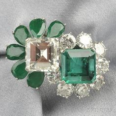Platinum, Emerald, and Diamond Twin-stone Ring   Sale Number 2641B, Lot Number 477   Skinner Auctioneers