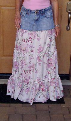 DIY ruffle jeans skirt  2.00 thrift store skirt and 3.00 cotton bed sheet for ruffles