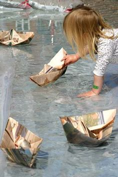 The race is on! Make paper boats and see which is the fastest.