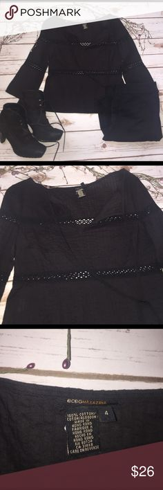 "Black BCBG Max Azaria Top Size 4 BCBG black top with a tie at the neck. It has cute horizontal embroidered bands. The sleeves are3/4 length. Cute little top, I just never reach for it. 18""1/2 length, 16"" bust. I see no signs of wear. BCBGMaxAzria Tops"