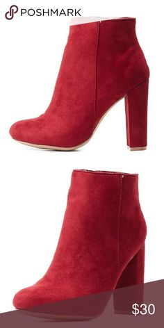 Charlotte Russe Red Heeled Booties✨ NWT Still in the box brand new SUPER CUTE red heeled ankle boots size 8.5! So sad I could get my feet to squeeze, but hoping to find these gorgeous shoes a new home!❤ Charlotte Russe Shoes Ankle Boots & Booties